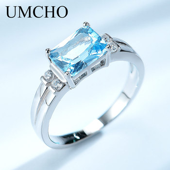 UMCHO Solid 925 Sterling Silver Jewelry Created Nano Sky Blue Topaz Rings For Women Cocktail Ring RUJ125AM-1 charms genuine london blue topaz women engagement ring solid 925 sterling sliver fashion natural stone jewelry 2015 new arrival