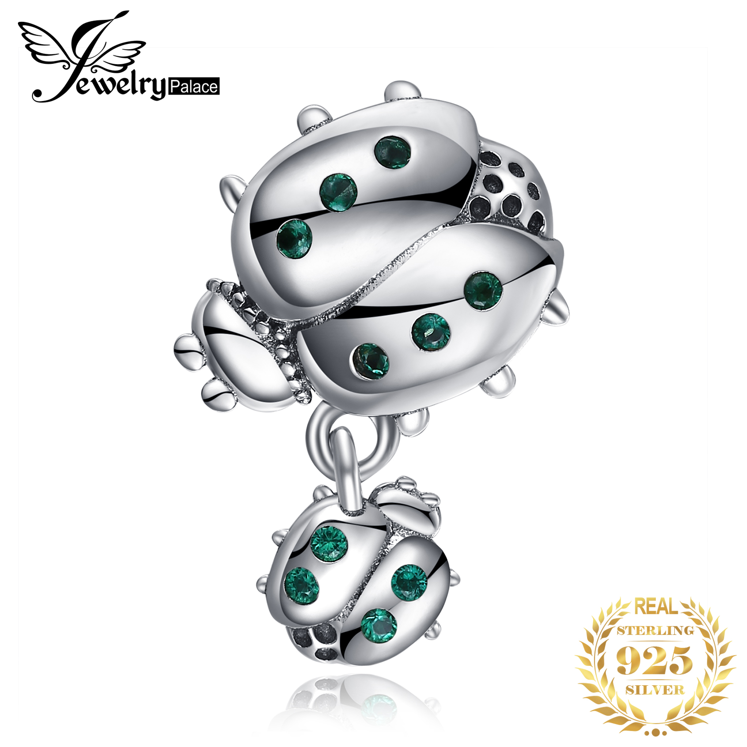 JewelryPalace Ladybird 925 Sterling Silver Beads Charms Silver 925 Original For Bracelet Silver 925 Original For Jewelry Making