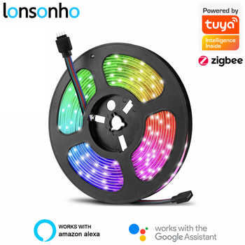 Lonsonho Tuya Zigbee Smart Led Strip RGB Strips Kit 5M 10M Wireless Remote Control Waterproof Compatible Alexa Google Home - DISCOUNT ITEM  30 OFF Lights & Lighting