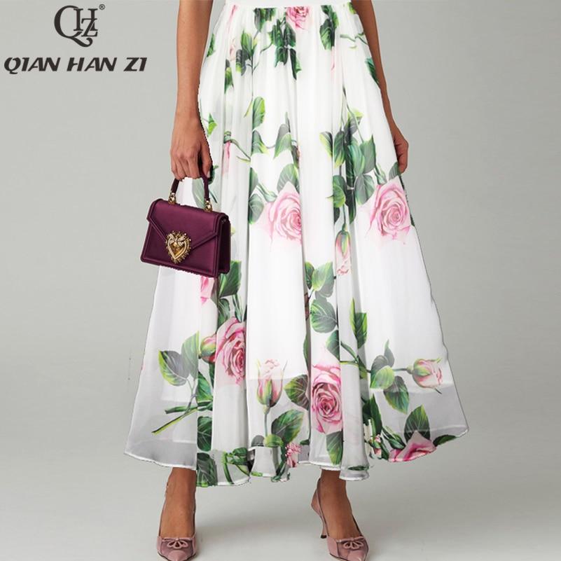 Qian Han Zi 2020 Designer Runway Fashion Long Skirt White Elegant Flower Print Beach Maxi  Skirt