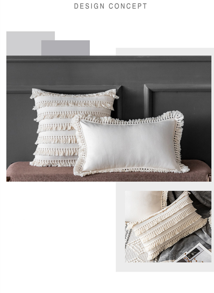 Beige Linen and Cotton Tassels Pillow Cover 45x45cm/30x50cm