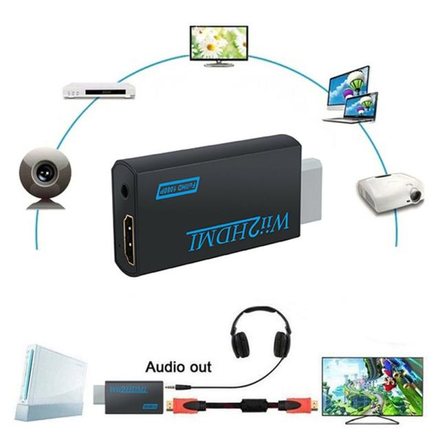 Portable Full HD 1080P Converter Adapter For Wii To HDMI Wii2HDMI Converter Audio Output Adapter Supports NTSC 480i 480p PAL576i