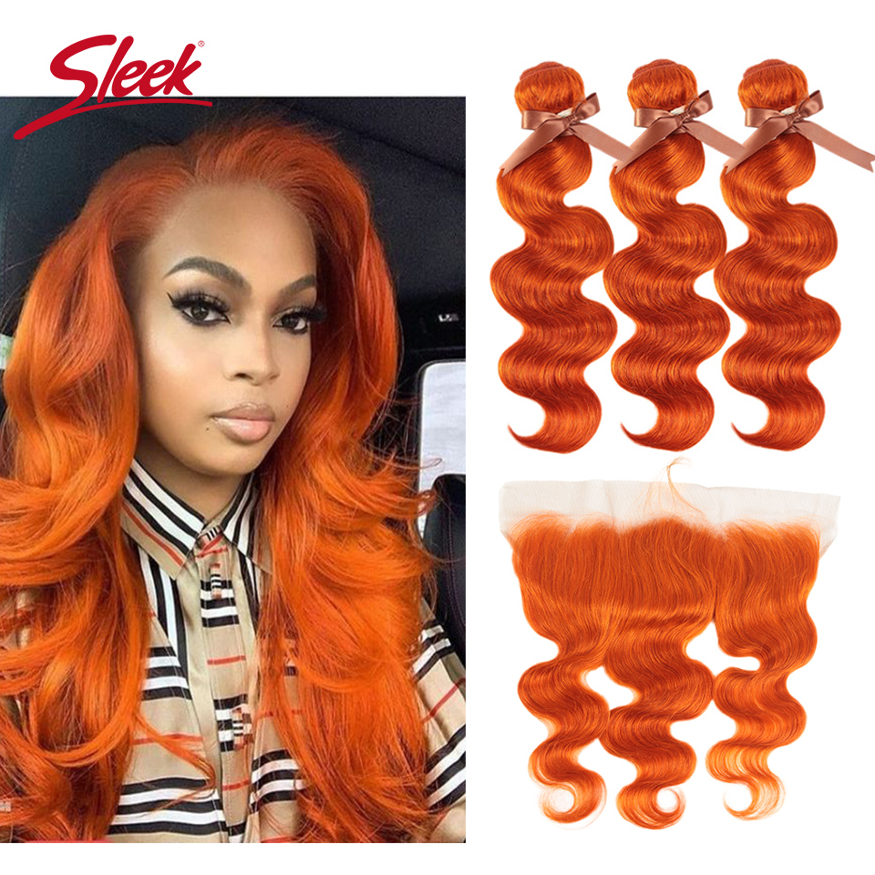 Sleek Mink Orange And Red Blonde Color Brazilian Body Wave Bundles With Frontal Remy Human Hair Weave Bunldes Hair Extension