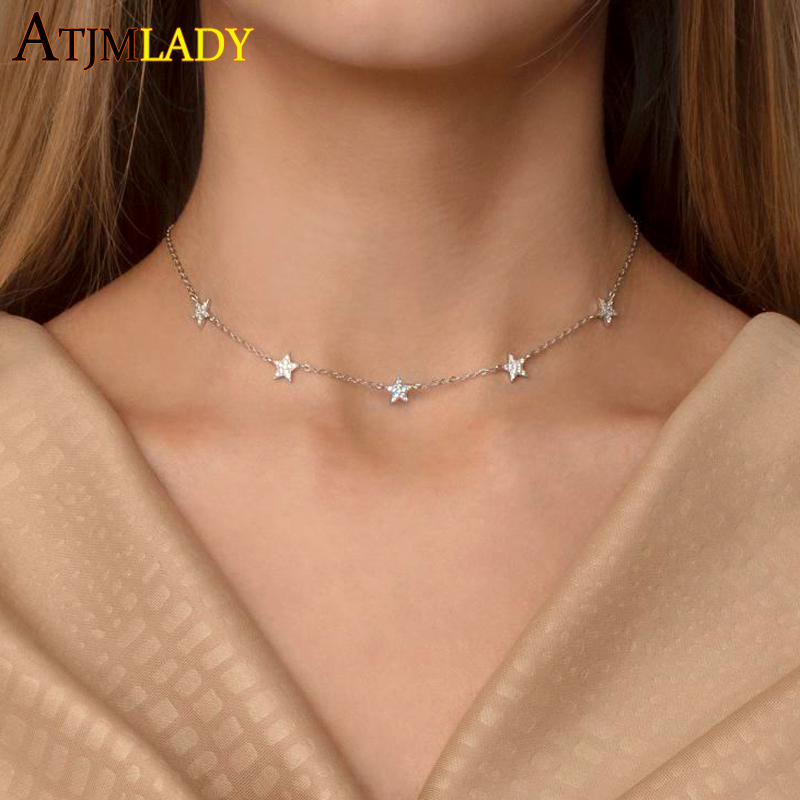 gold filled vermeil 925 sterling silver cute cz star choker charm charming women jewelry fine silver necklace Christmas gift