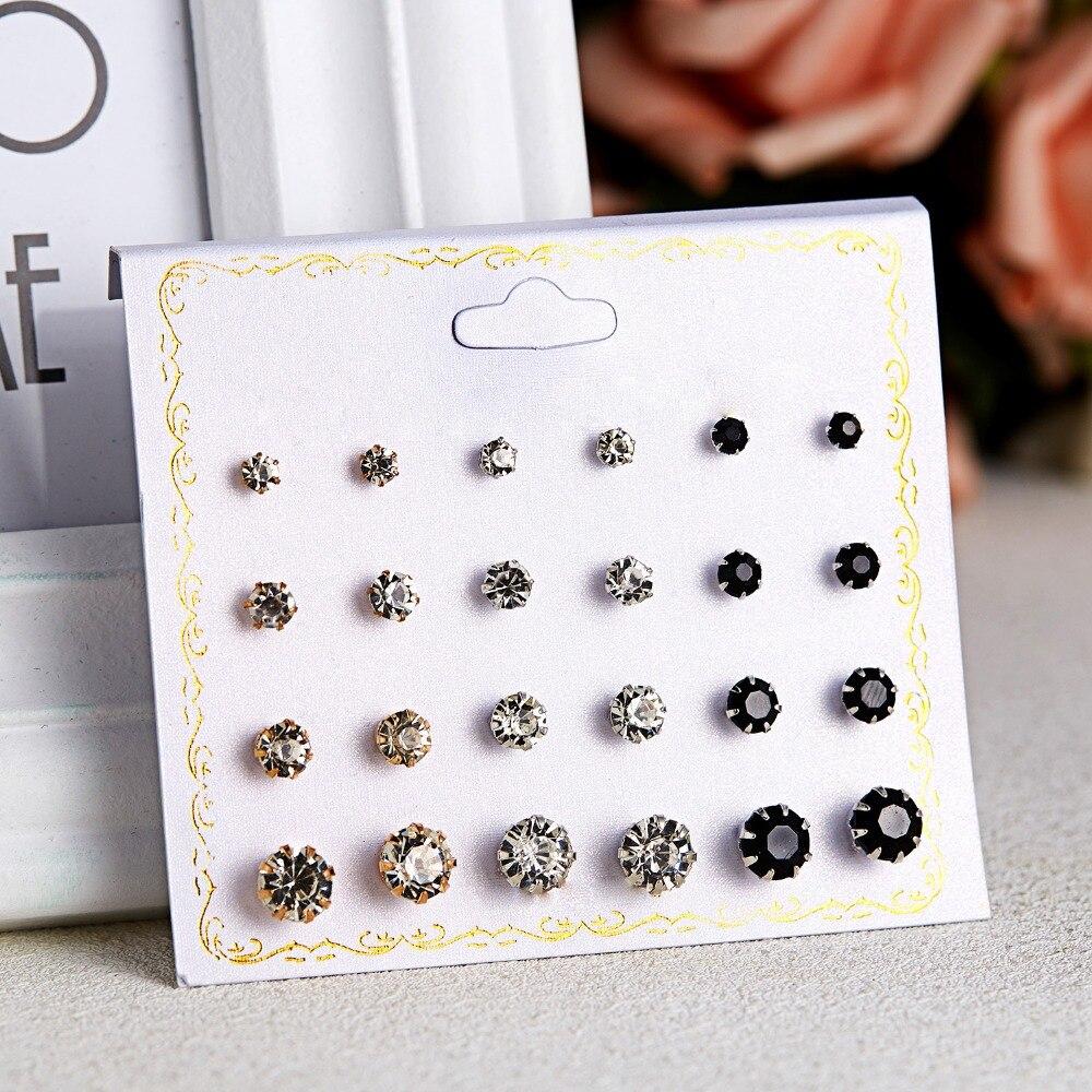 12 Pairs/set Stud Earrings Set With Card Transparent Zircon Balls Love Flowers Earrings Women Imulated Pearl Earrings Jewelry 54