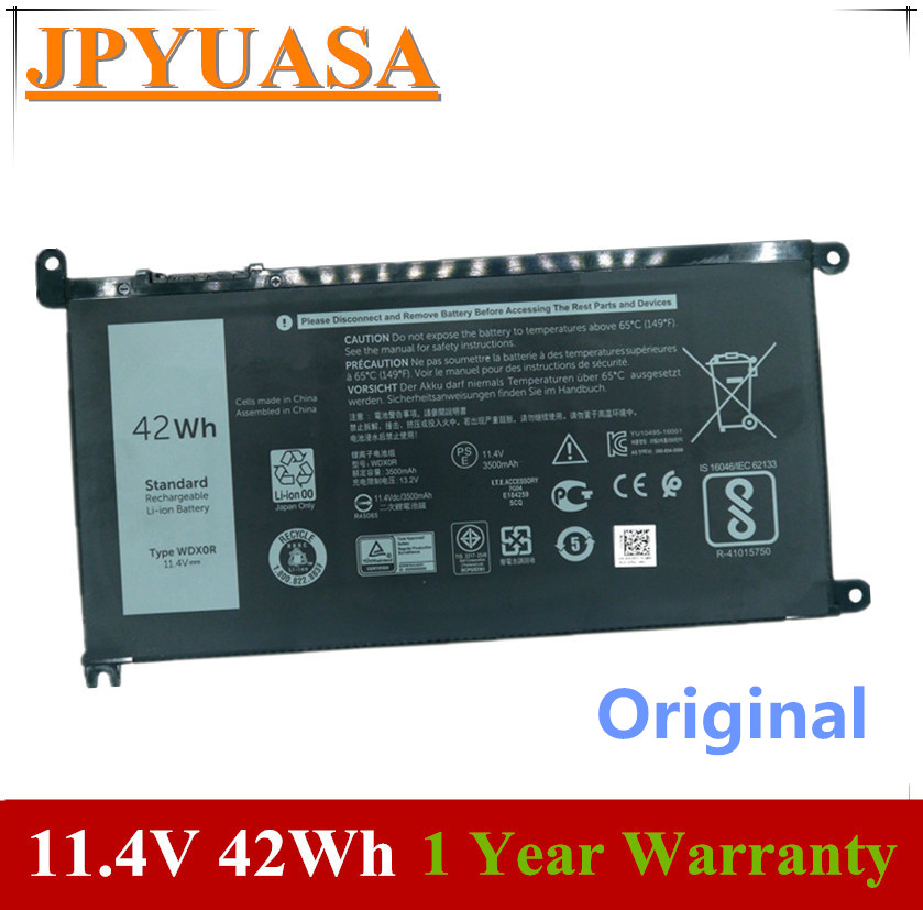 7XINbox 11.4V 42Wh Original WDX0R WDXOR 3CRH3 T2JX4 Laptop Battery For Dell Inspiron 13 7368 14-7460 15 7560 17 5765 5767 5770
