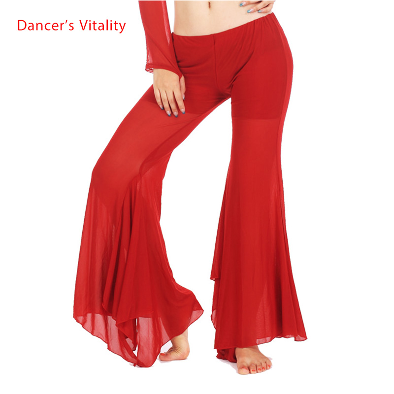 9 Colors Wholesale Belly Dance Clothes Mesh Belly Dance Trousers Girls Sexy Split Belly Dance Pants Women Belly Dance Trousers