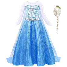 Girls Dress Blue Sequin Belle Elsa For Kids Coplay Snow Queen Costume And Princess White Wig