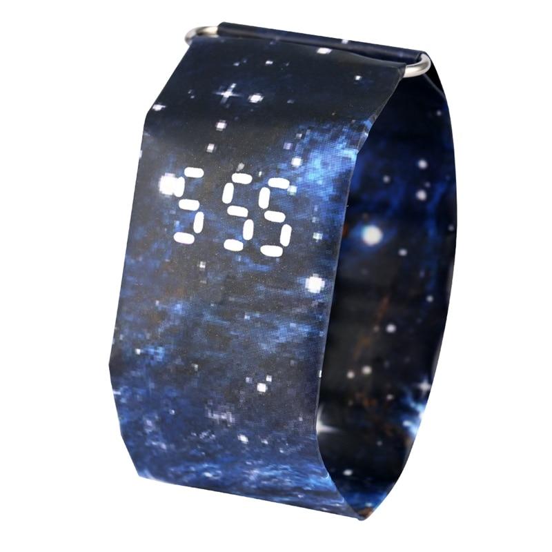 Digital Display Watch For Men Utility Quartz Movement Paper Watches Women Gift Attractive Blue Sky Pattern Paper Wristwatch