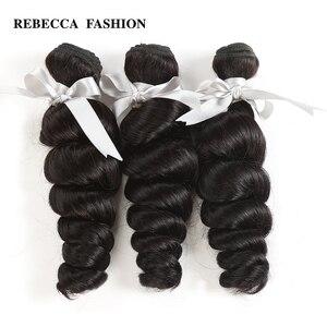 Rebecca extensiones de ondas sueltas brasileñas 8-30 pulgadas de 1/3/4 Uds 100% extensiones de cabello humano Remy extensiones de cabello
