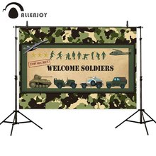Allenjoy Welcome Soldiers photography backdrop birthday camouflage military doll aircraft tank background photophone photocall
