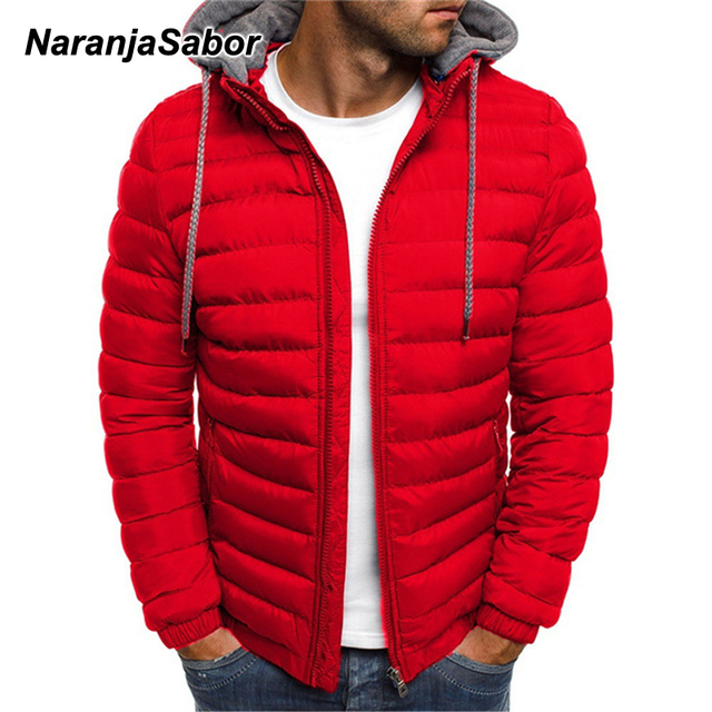 NaranjaSabor Fleece Parka Coat Mens 2020 Winter Thick Hooded Cotton Outwear Men Fashion Jacket Male Casual Brand Clothing N604