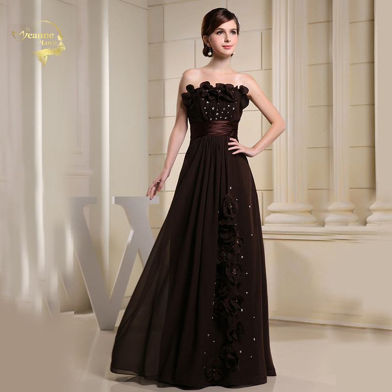 Brown Strapless Chiffon Crystal Flowers Long Women Evening Dresses For Weddings Party Dinner Prom Formal Gown Vestidos Longo FG8