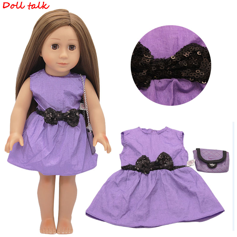 Purple Doll Dress With Bag Set Skirt+Chain Bag Suit For 18 Inch Dolls Fit 43cm Baby New Bron Doll Girl Dolls Accessories