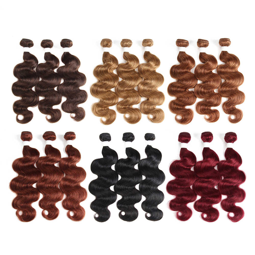 99J/عنابي اللون الأحمر الجسم موجة الإنسان الشعر 2/3 حزم مع الدانتيل إغلاق 4x4 X-TRESS البرازيلي غير ريمي تموجات الشعر ملحقات