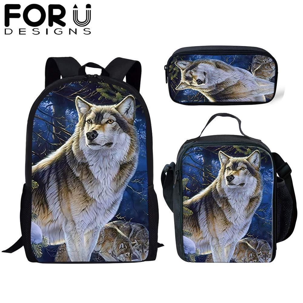FORUDESIGNS 3Pcs/Set Cool School Bag 3d Wolf Print Backpack for Teenager Boys Orthopedic Kids Schoolbag Bookbag