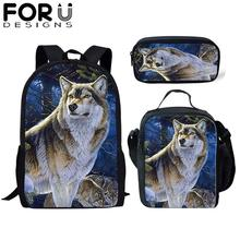 FORUDESIGNS 3Pcs/Set Cool School Bag 3d Wolf Print Backpack for Teenager Boys Orthopedic Kids Schoolbag Bookbag