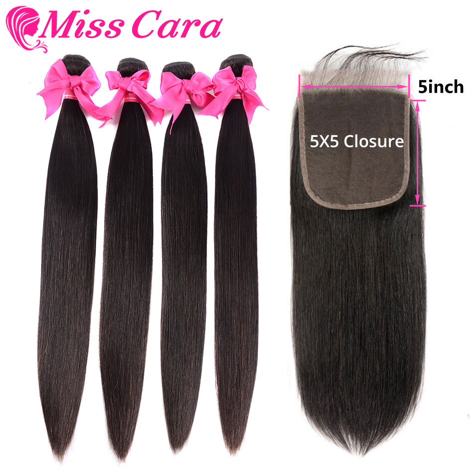 Peruvian Straight Hair 3/4 Bundles With 5x5Closure 100% Human Hair Bundles With Closure Miss Cara Remy Hair Bundles With Closure