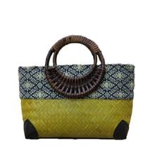 National retro hand-made bamboo woven bag personalized storage and storage handbag