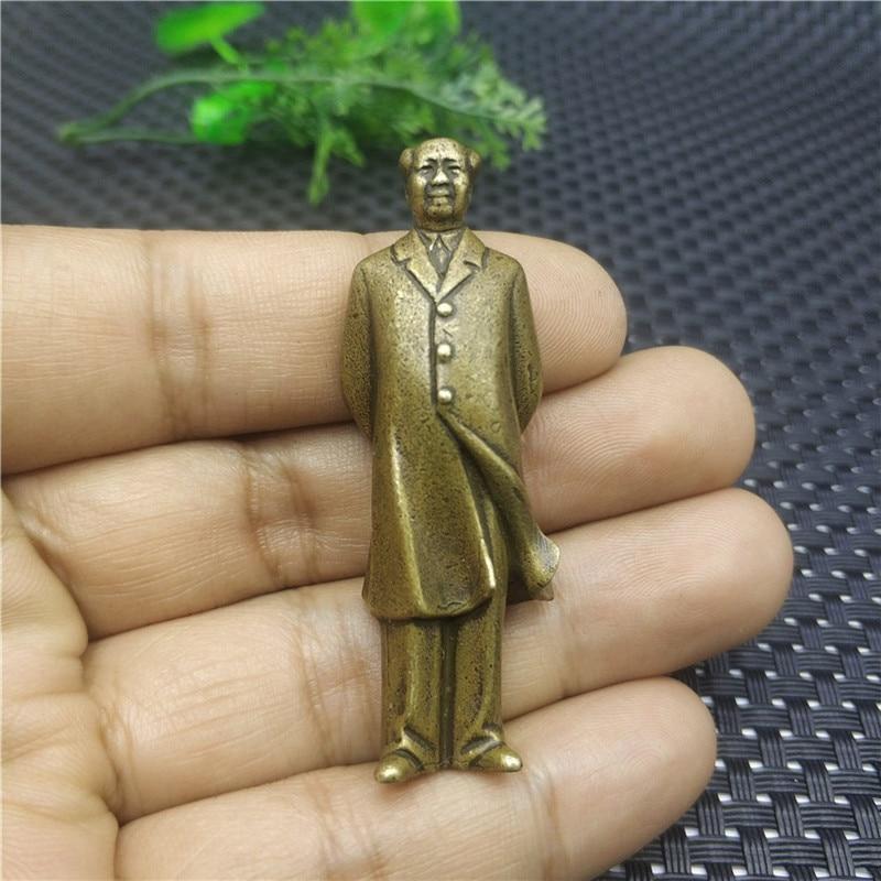 51MM Curio Chinese Bronze Great Leader Mao Zedong Chairman Mao Figure Sculpture