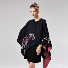 Winter Poncho and Cape Women Scarf Warm Cloak Floral Shawl Imitation Cashmere Pashmina National Wind Fork Cloaks Wraps Mujer()