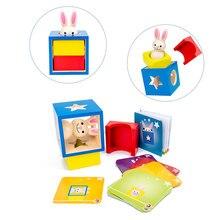 Novo coelho de madeira caixa mágica com segredo coelho boo esconder e procurar jogo mágico cérebro teaser brinquedos crianças brinquedo de madeira presentes