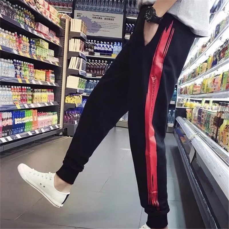 MEN'S Trousers Korean-style Sweatpants 2018 New Style Spring And Summer Closing Casual Pants Teenager Loose-Fit Beam Leg Sports