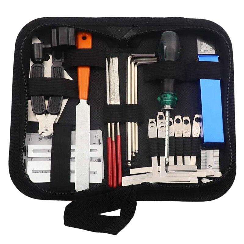 Guitar Tool Kit Repairing Maintenance Tools String Organizer String Action Ruler Gauge Measuring Tool Hex Wrench Set Files Finge