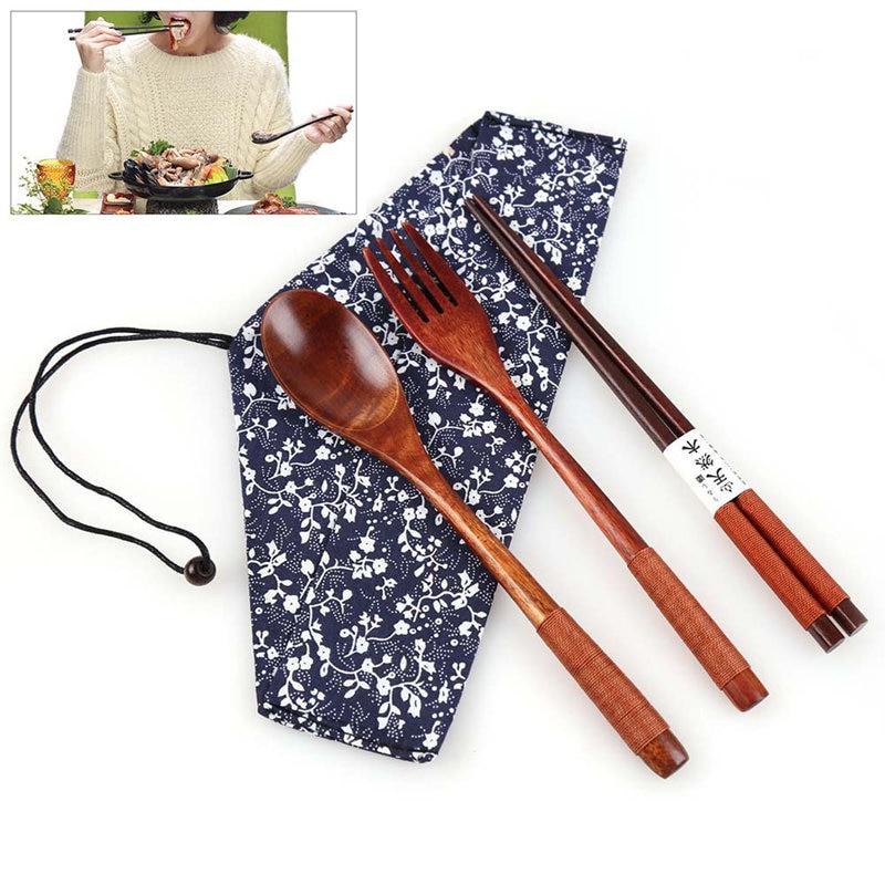 3 peças conjunto sendok garpu sumpit kayu sendok kayu perjalanan portabel