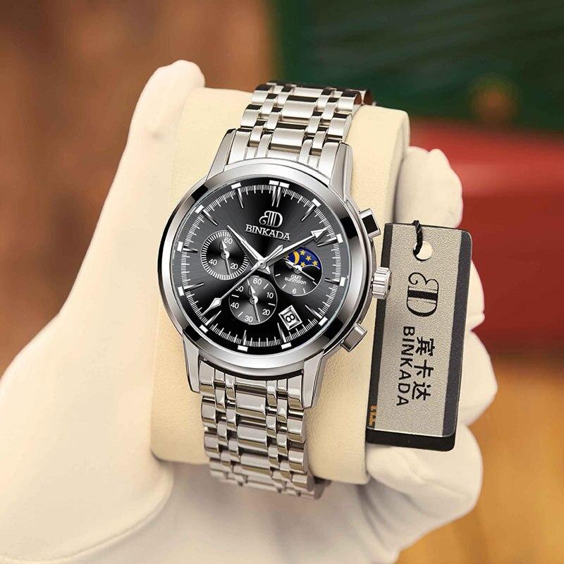 Спортивные водонепроницаемые кварцевые часы со стальным ремешком, швейцарский бренд, мужские часы, новинка 2021