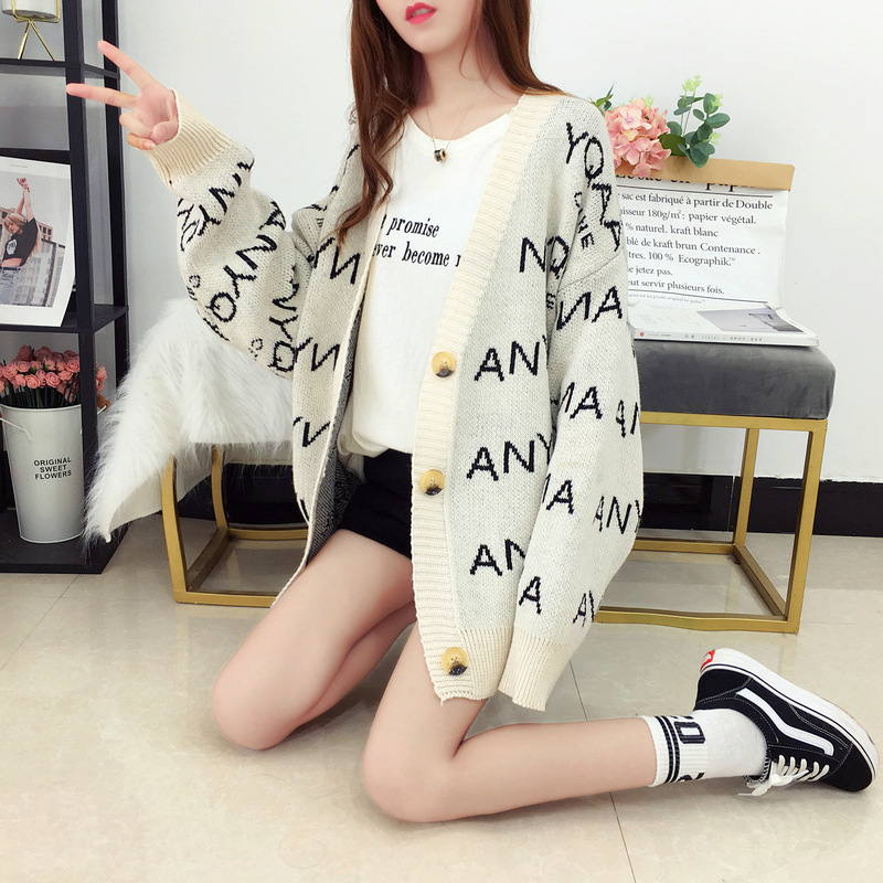 CHRLEISURE Casual Letter Knit Cardigan Sweater For Women Autumn And Winter Thicken Sweater Cardigan Fashion Ladies 39 Clothes in Cardigans from Women 39 s Clothing