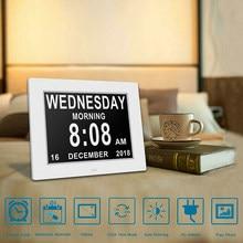 8 idiomas digital dia relógio led calendário dia/semana/mês/ano despertador para idosos demência visão deficiência decoração da casa