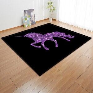 Image 2 - קריקטורה ורוד Unicorn שטיחים אנטי להחליק פלנל שטיחים ילדים לשחק מחצלת בנות חדר דקורטיבי אזור שטיח סלון שטיח ושטיח