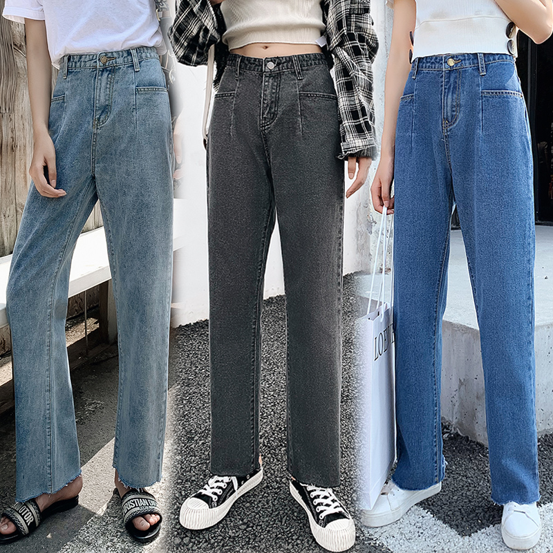 Wide Leg Pants Autumn 2019 Spring Korean 3 Color Trousers Cotton straight tube loose broad legged jeans Casual Women Pants 165H3 in Pants amp Capris from Women 39 s Clothing