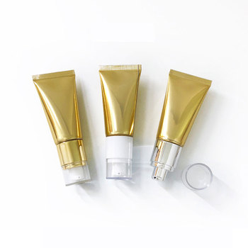 30ml Luxury Pump Bottle High Grade Cosmetic Soft Tube Golden Squeeze Sub-bottling Empty Storage Hose Acrylic Lid 50pcs/lot