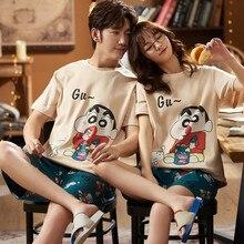 Summer Short Sleeve O-neck Casual Home Wear Oversized Nightwear Cute Japan Anime Cartoon Pajamas Set For Couple Cotton Sleepwear