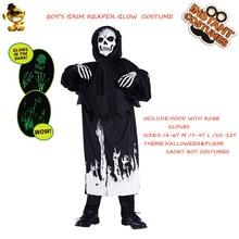 Robe Halloween-Costumes Cosplay Black Kids for Purim Reaper Grim Glow-In-The-Dark Boy's