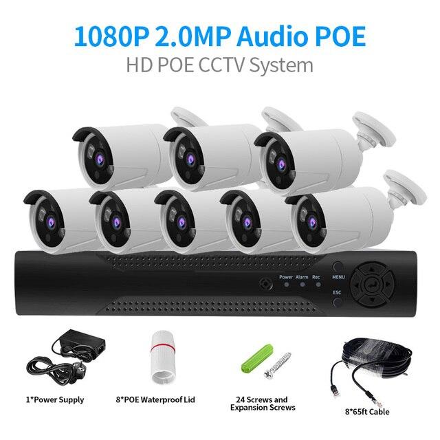 CCTV System 4CH 2MP POE NVR 1080P POE IP Camera  IR Night Vision Motion Detection Security Surveillance System