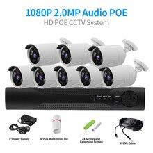 Sistema de CCTV, 4 canales, 2MP, NVR POE, 1080P, cámara IP POE, IR, visión nocturna, detección de movimiento, sistema de vigilancia de seguridad