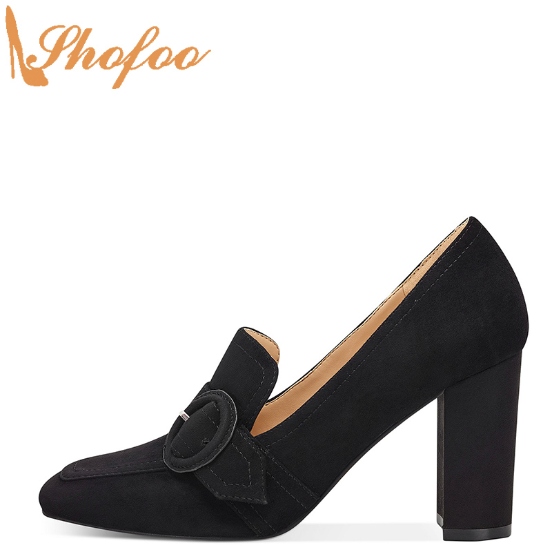 Black High Chunky Heels Loafers Pumps Square Toe Woman Slip On Flock Large Size 12 15 Ladies Fashion Buckle Mature Shoes Shofoo