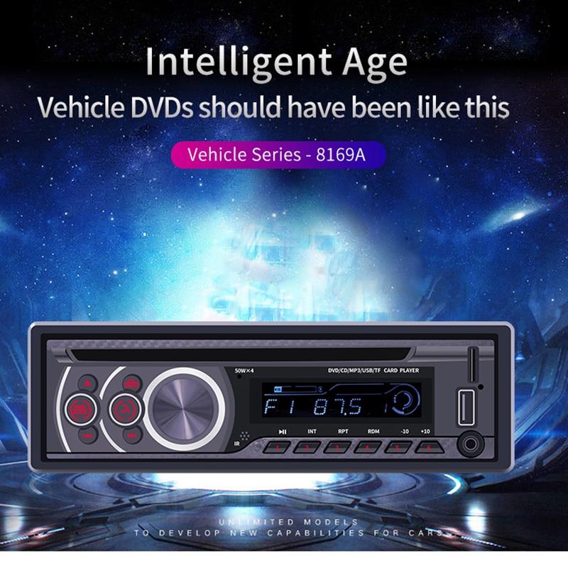 Appareil de tête de lecteur de voiture | Bluetooth 8169A 1 Din, lecteur MP3, Autoradio 1din, CD VCD DVD AUX, Radio USB FM, Auto Audio, unité de tête