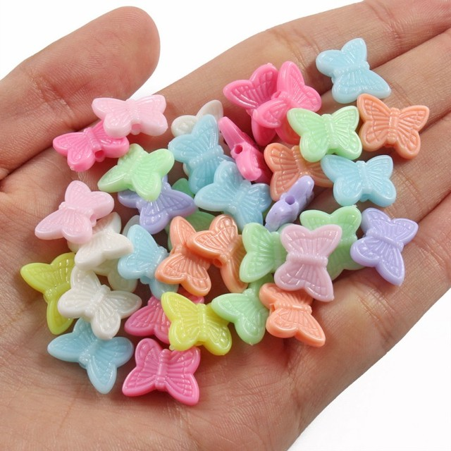 100pcs/lot Mixed Acrylic Beads Heart Stars Loose Spacer Beads for Needlework Jewelry Making Handmade Diy Bracelet Accessories 2