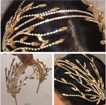 Baroque crowns gold leaf headband hair jewelry wedding hair accessories Headbands princess tiara Handmade Bridal Headpiece недорого