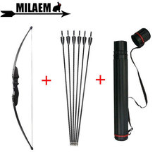 30/40lbs Archery Recurve Bow And Arrow Set Black With Fiberglass Quiver RH/LH Hunting Shooting Accessories