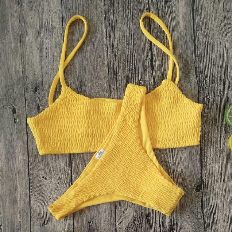 Yellow Ruffles Crochet Sexy Bikini Set Women Push-up Padded Bra Biquini Swimsuit Triangle Swimwear Bathing Suit Mujer 1