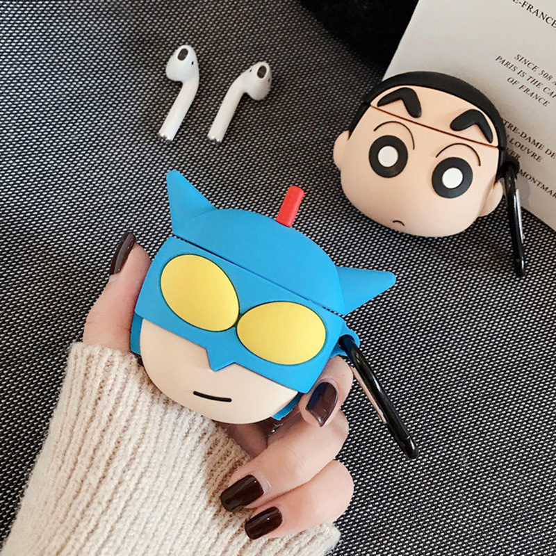 3D Cartoon Anime Case for AirPods 2 Cute Cover Silicone Bluetooth Earphone Protective Case for Apple Airpods with Keychain