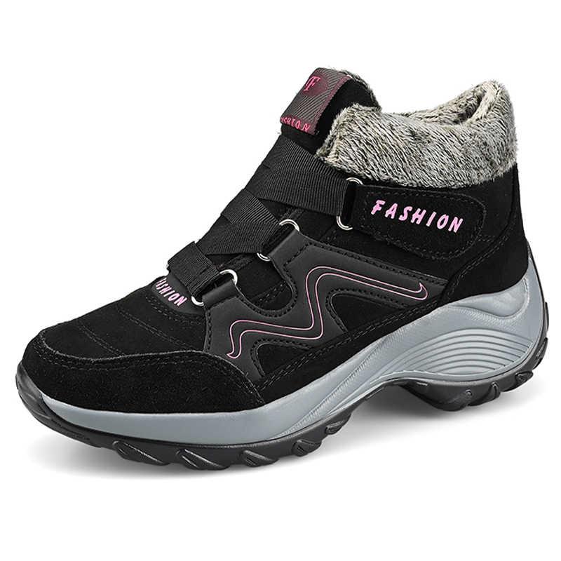 Брендовые зимние женские ботинки; Водонепроницаемые замшевые женские теплые плюшевые ботильоны; женская обувь; зимние пикантные ботинки на танкетке