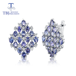 TBJ ,Natural 5ct Tanzanite Gemstone Earring 925 sterling silver precious gemstone fine jewelry luxury gift for wife mom with box
