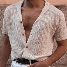 Cavalheiro solid malha cardigan polo camisas 2021 primavera verão masculino poloshirt manga curta sexy decote em v botões de algodão roupas