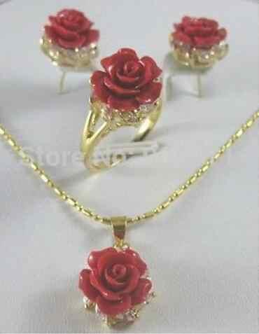 เครื่องประดับชุดไข่มุกคริสตัลสีแดง Coral rose ดอกไม้จี้ต่างหูแหวน lady ชุดจัดส่งฟรี